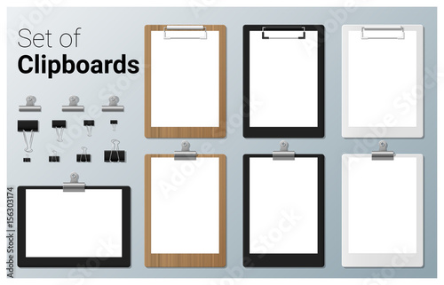 Photo  Set of realistic clipboards , vector, illustration