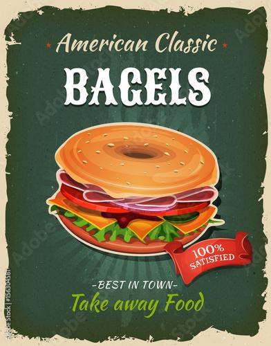 Retro Fast Food Bagel Poster © benchart