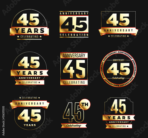 фотография  45th anniversary logo set with gold elements