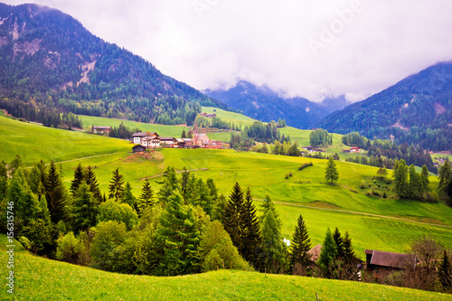 Photo Saint Magdalena in Val Funes landscape view