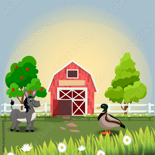 happy and cheerful farm animals Poster