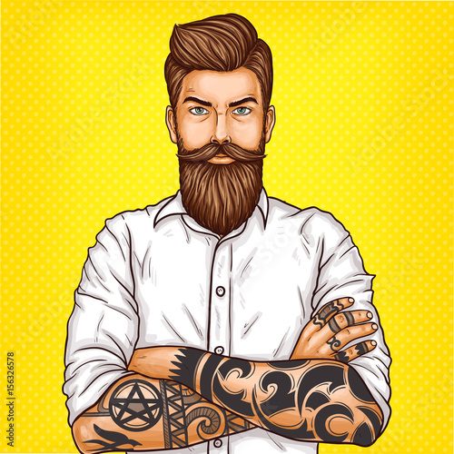Vector pop art illustration of a brutal bearded man, macho with tatoo folded his arms over his chest