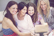 canvas print picture Happy group of mature women taking a self portrait and having fun
