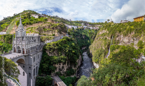 Poster South America Country Panoramic view of Las Lajas Sanctuary - Ipiales, Colombia