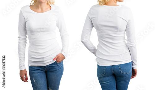 Fényképezés  White long sleeve shirt template, front and back