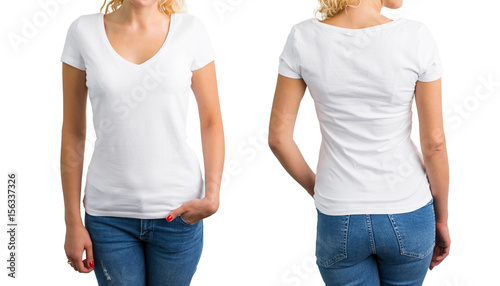 Fotografía Woman in white V-neck T-shirt, front and back