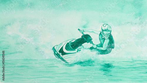 Garden Poster Water Motor sports Painting of Jet Ski Cornering at Speed lots of Spray