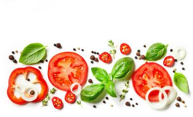 Fototapeta Przyprawy fresh vegetables, herbs and spices