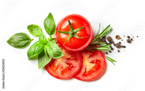 Tuinposter Kruiderij fresh tomato, herbs and spices
