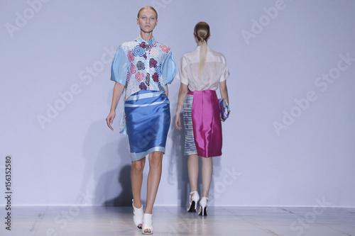 3d3fdfe7e1d Models present creations by South Korean designer Lie Sang Bong as part of  his Spring
