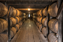 Looking Down Walkway In Bourbon Aging Warehouse