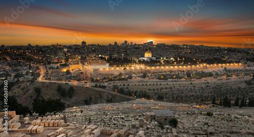 Poster Moyen-Orient jerusalem city by sunset
