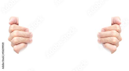 Obraz Hand holding blank white paper for advertise text - fototapety do salonu