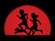 Little Boy And Girl Running Together With Puppy Dog On Sunlight Background Graphic Vector