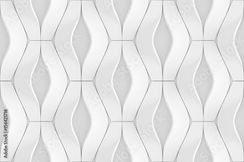 Foto auf Leinwand Künstlich White curved lines background. Concrete decorative tile. 3D rendering design. Seamless texture .