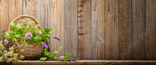 Fototapeta Basket with herbs obraz