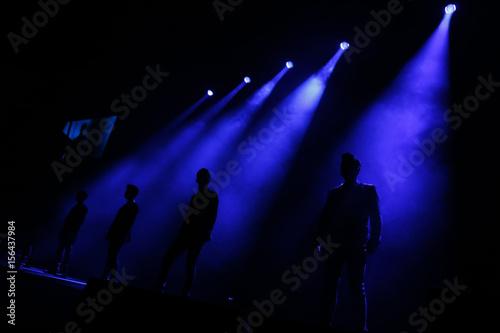 Members of South Korean K-pop band Super Junior perform during their