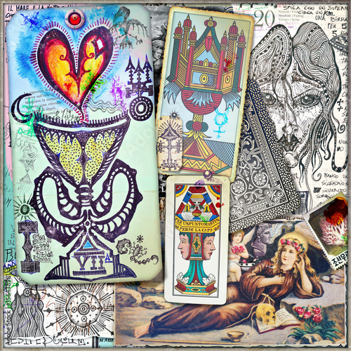 Door stickers Imagination Fortune-teller.Tarot's and seameless draws and sketche's background