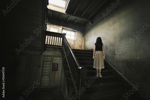 Photo  Ghost in Haunted House, Mysterious Woman, Horror scene of scary woman's ghost