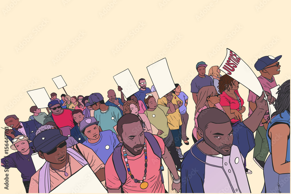 Fényképezés Illustration of people marching for justice