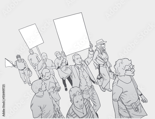 Fényképezés  Illustration of mixed ethnic crowd protesting against police brutality with blan