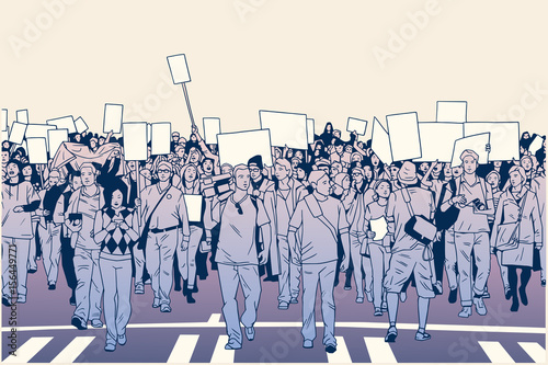 Fényképezés  Illustration of peaceful crowd protest with blank signs in high detail