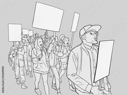Fényképezés  Illustration of of students protesting for equality with blank signs