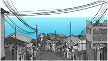 Illustration Of Peaceful Fishing Village By The Seaside
