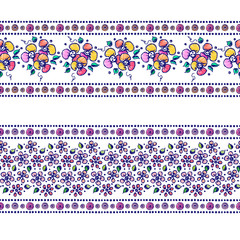 Set of seamless vector hand drawn floral patterns, endless border, frame with flowers, leaves. Decorative graphic line drawing illustration. Print for wrapping, background, fabric, textile, surface