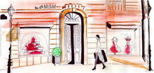 Illustration Sketch Street With Fashion Stores And A Woman Customer Going Shopping