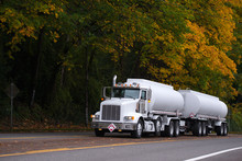 White Big Rig Semi Truck With ...