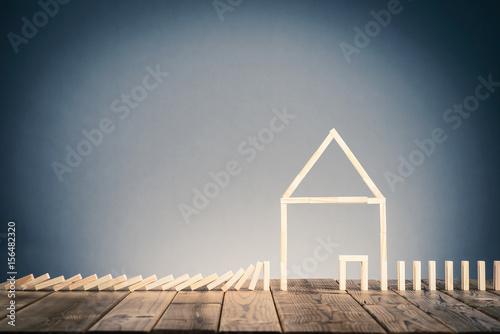 Valokuvatapetti ドミノブロックと住宅イメージ