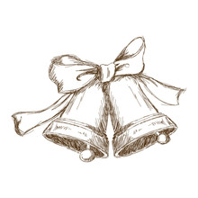Christmas Bells With Bow. Vint...