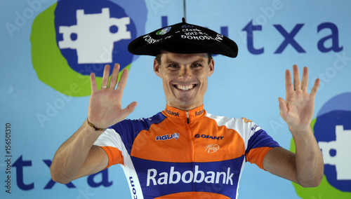 e8773a51bc1ca Rabobank rider Sanchez of Spain wears a traditional Basque beret as he  celebrates his victory on