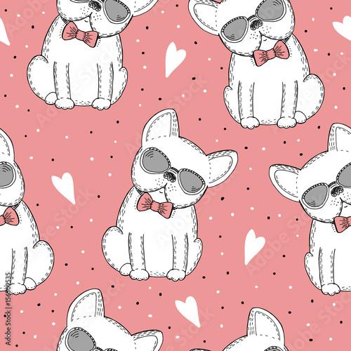 Fototapeta szkic psa na różowym tle