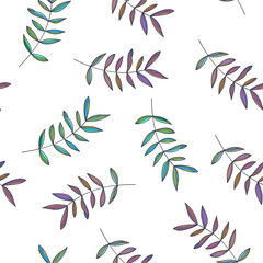 Fototapeta Do jadalni Botanical hand drawn illustration of branches. Vector seamless pattern in doodle style. Floral texture with cute leaves