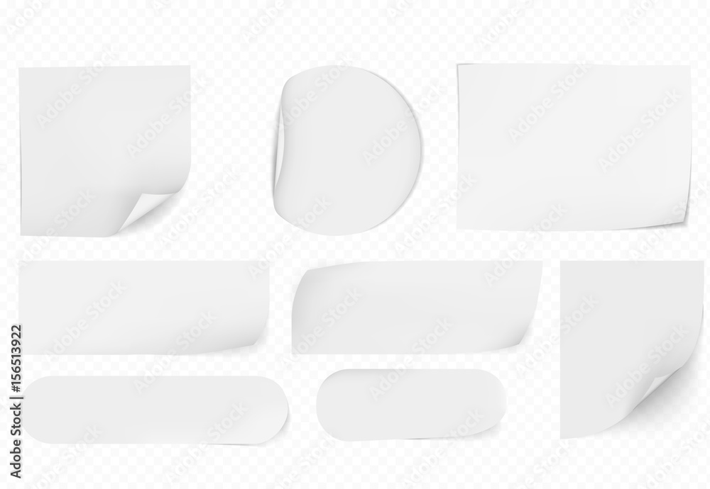 Fototapety, obrazy: blank white sticky papers  papers set