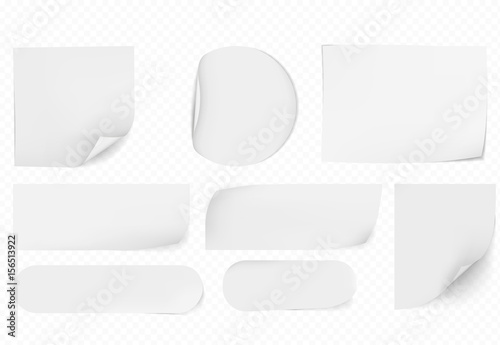 Obraz blank white sticky papers  papers set  - fototapety do salonu
