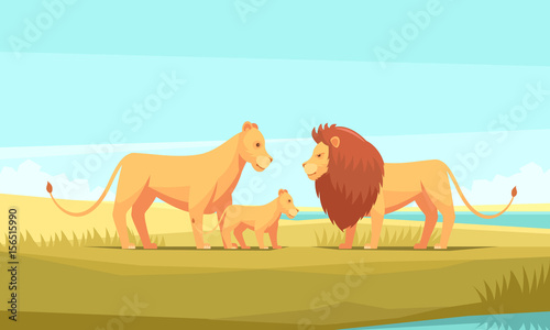 Fotobehang Lichtblauw Wild Lion Family Composition