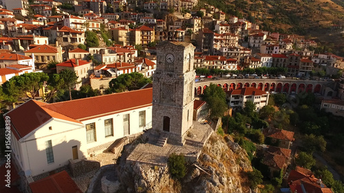 Aerial drone photo of Arachova traditional village in Voiotia, Greece