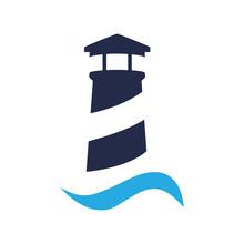 Icono Plano Faro Con Ola Azul En Fondo Blanco