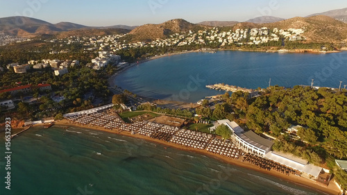 Aerial drone photo of iconic beach of Astir in Vouliagmeni, Athens Riviera, Gree Canvas Print