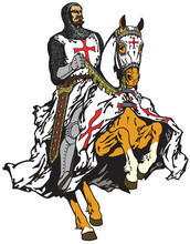 Medieval Knight Of Templar Order Riding A Horse In Gallop