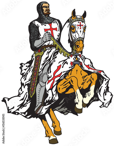 Photo  medieval knight of Templar order riding a horse in gallop