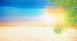 Summer beach with sea, palms and sunshine banner