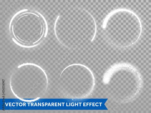 Obraz Light flash circle and star shine effect on vector transparent background - fototapety do salonu