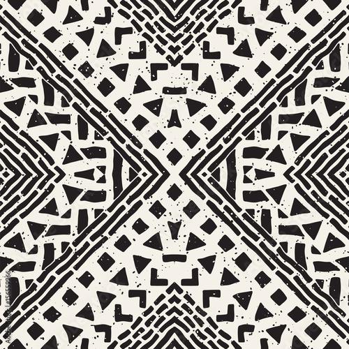 Photo Hand drawn painted seamless pattern