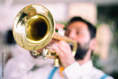 Plakat Muzyka jazzowa trębacza