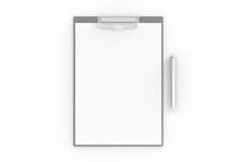 Clipboard Mock Up On Soft Background With Soft Shadows. 3D Illustrating.