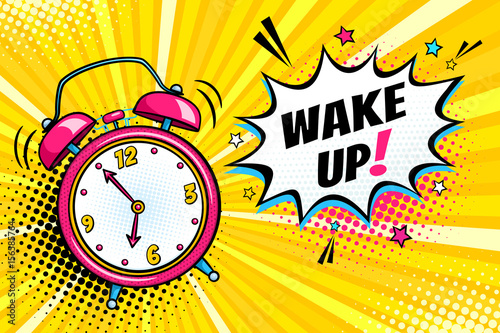 Fotografie, Obraz  Background with comic alarm clock ringing and expression speech bubble with wake up text